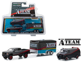 2015 Chevrolet Silverado 1983 GMC Vandura Enclosed Car Hauler Bullet Holes The A-Team 1983 1987 TV Series Hollywood Hitch and Tow Series 5 1/64 Diecast Model Greenlight 31060 B