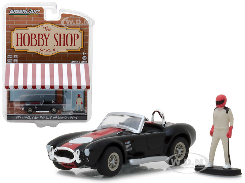 1965 Shelby Cobra 427 S/C Black Race Car Driver The Hobby Shop Series 4 1/64 Diecast Model Car Greenlight 97040 A