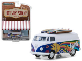 1971 Volkswagen Type 2 Panel Van Surfboards The Hobby Shop Series 4 1/64 Diecast Model Car Greenlight 97040 C
