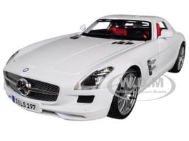 Mercedes Benz SLS AMG White Red Interior 1/18 Diecast Model Car Maisto 36196