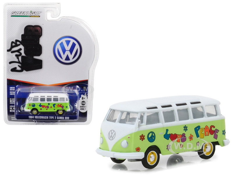 1964 Volkswagen Type Samba Bus Hippie Peace Love Light Green Top Series 7 Club Vee Dub 1/64 Diecast Model Car Greenlight 29920 C