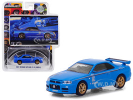 2001 Nissan Skyline GT-R BNR34 Blue Track Meat BFGoodrich Vintage Ad Cars Hobby Exclusive 1/64 Diecast Model Car Greenlight 29944
