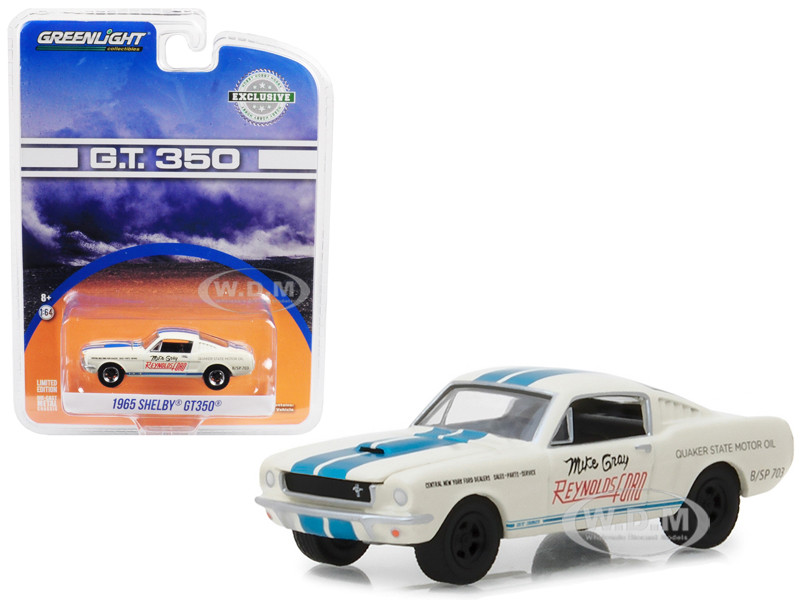 1965 Ford Mustang Shelby GT350 White Blue Stripes Reynolds Ford Super Horse driven Mike Gray Hobby Exclusive 1/64 Diecast Model Car Greenlight 29949