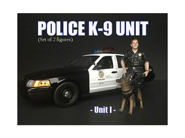 Police Officer Figure K9 Dog Unit I 1/18 Scale Models American Diorama 38163