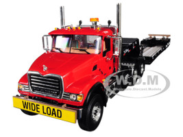 Mack Granite Tri Axle Lowboy Trailer Cherry Red 1/34 Diecast Model First Gear 10-4150