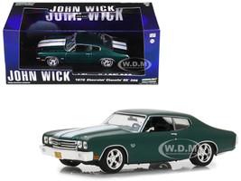 1970 Chevrolet Chevelle SS 396 Green White Stripes John Wick 2014 Movie 1/43 Diecast Model Car Greenlight 86541