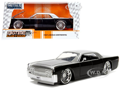 1963 Lincoln Continental Black Silver Top 1/24 Diecast Model Car Jada 99553