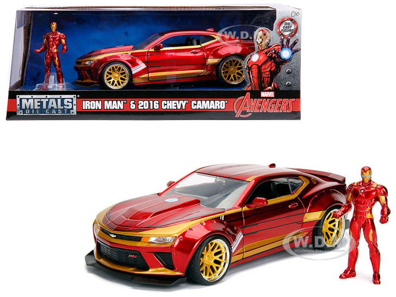 2016 Chevrolet Camaro Iron Man Diecast Figure Marvel Series 1/24 Diecast  Model Car Jada 99724