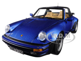 1987 Porsche 911 Turbo Targa 3.3 Blue Metallic 1/18 Diecast Model Car Norev 187663