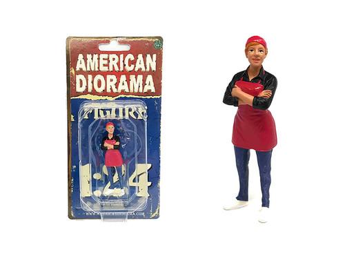 Food Truck Chef Gloria Figure for 1/24 Scale Models American Diorama 38442