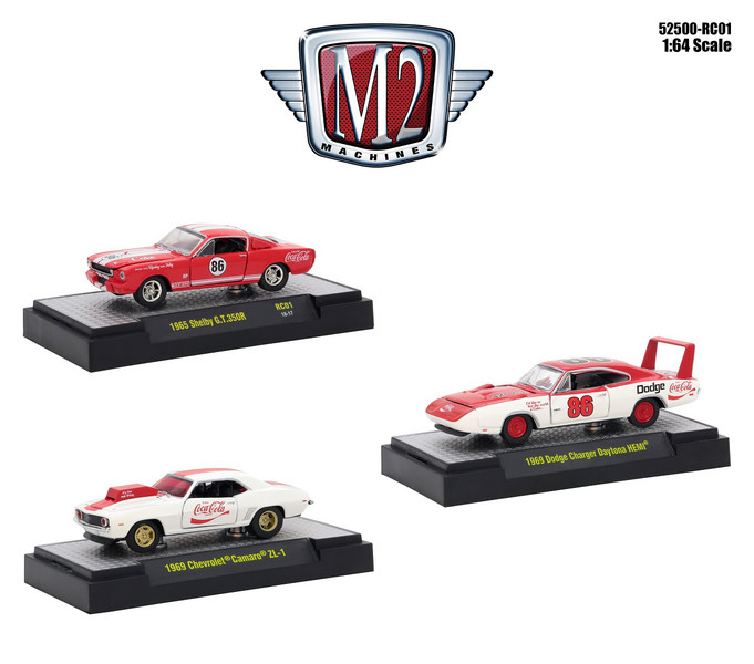 Coca Cola Set 3 Cars Limited Edition 4800 pieces Worldwide Hobby Exclusive 1/64 Diecast Models M2 Machines 52500-RC01