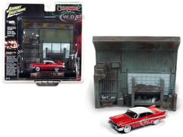1958 Plymouth Fury Red Darnell's Garage Interior Diorama Christine 1983 Movie 1/64 Diecast Model Johnny Lightning JLDR002 JLSP032