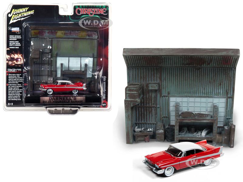 1958 Plymouth Fury Red Darnell's Garage Interior Diorama Christine 1983 Movie 1/64 Diecast Model Johnny Lightning JLDR002 JLSP032