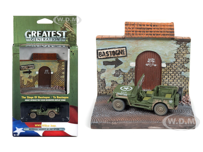 Military WWII Willys MB Jeep To Bastogne Resin Display Diorama The Greatest Generation Series 1/64 Diecast Model Johnny Lightning JLDS001