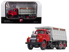 Mack B-61 Tandem Axle Dump Truck Red Cab Gray Body 1/64 Diecast Model First Gear 60-0401