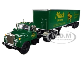 Mack B-61 Day Cab 40' Vintage Trailer Mack Trucks Performance Counts Green 1/64 Diecast Model First Gear 60-0402