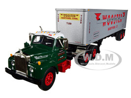Mack B-61 Day Cab Green 40' Vintage Trailer Wooster Express Inc 15th Fallen Flag Series 1/64 Diecast Model First Gear 60-0410
