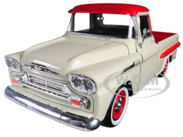 1958 Chevrolet Apache Fleetside Pickup Truck Cream Red Top 1/24 Diecast Model Car Motormax 79311