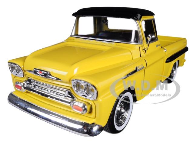 1958 Chevrolet Apache Fleetside Pickup Truck Yellow Black Top 124