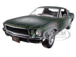 1968 Ford Mustang GT Fastback Green Unrestored Steve McQueen Collection 1930 1980 2018 Detroit Auto Show 1/24 Diecast Model Car Greenlight 84043