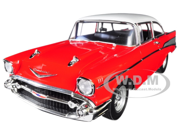1957 Chevrolet Bel Air Street Strip Red White Top Limited Edition 552 pieces Worldwide 1/18 Diecast Model Car Acme A1807005