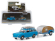 1961 Volkswagen Type 3 Squareback Blue Tear Drop Trailer Hitch Tow Series 14 1/64 Diecast Models Greenlight 32140 A