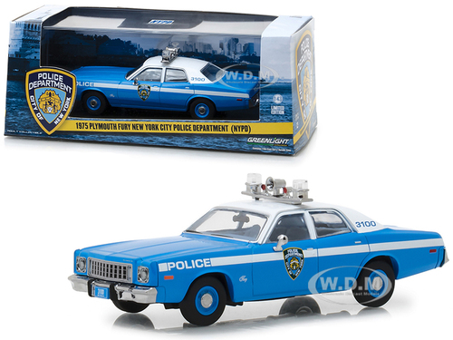 1975 Plymouth Fury New York City Police Department NYPD Blue White Top 1/43 Diecast Model Car Greenlight 86535