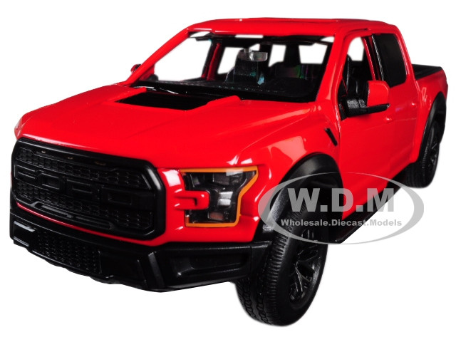 2017 Ford F 150 Raptor Pickup Truck Red With Black Wheels 1 27 Diecast Model Car By Motormax