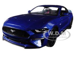 2018 Ford Mustang GT 5.0 Blue Black Wheels 1/24 Diecast Model Car Motormax 79352
