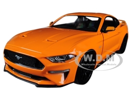 2018 Ford Mustang GT 5.0 Orange Black Wheels 1/24 Diecast Model Car Motormax 79352