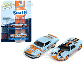2005 Ford GT Light Blue Gulf 1970 Ford Mustang Boss 302 70 Light Blue Gulf 1/64 Diecast Model Cars Johnny Lightning JLPK004 JLSP042