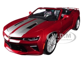 2017 Chevrolet Camaro SS Convertible Garnet Red Tintcoat Silver Stripes 1/24 Diecast Model Car Greenlight 18245