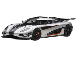 Koenigsegg One 1 Moon Grey Carbon Black Orange Accents 1/18 Model Car Autoart 79017