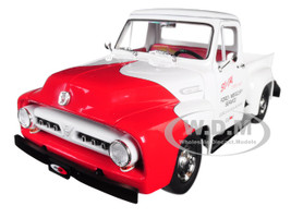 1953 Ford F-100 So-Cal Speed Shop Push Truck White Red 1/18 Diecast Model Car Acme A1807208