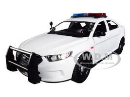 2013 Ford Police Interceptor Flashing Lights Two Sounds Plain White 1/24 Diecast Model Car Motormax 79538