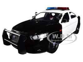 2013 Ford Police Interceptor Flashing Lights Two Sounds Black White 1/24 Diecast Model Car Motormax 79539