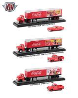 Auto Haulers Coca Cola 3 Trucks Set 1/64 Diecast Models M2 Machines 56000-50S01