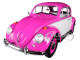 1967 Volkswagen Beetle Right Hand Drive Pink White 1/18 Diecast Model Car Greenlight 13512