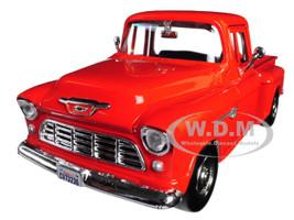 1955 Chevrolet 5100 Stepside Pickup Truck Orange 1/24 Diecast Model Car Motormax 73236