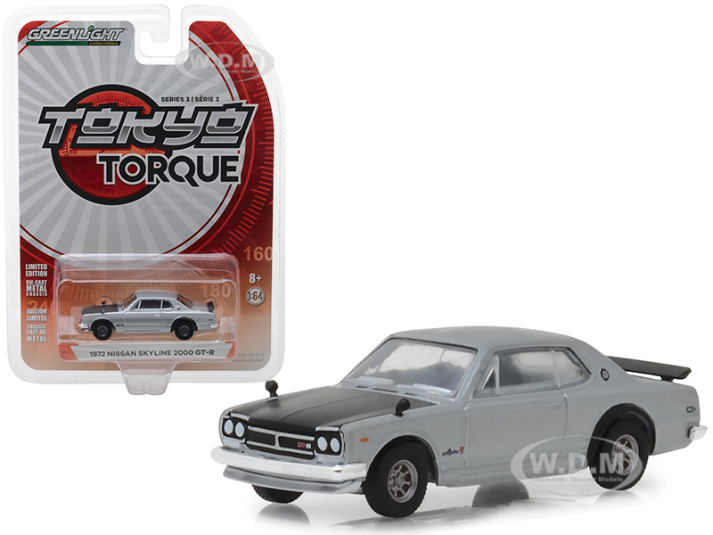 1972 Nissan Skyline 2000 GT-R Silver Black Hood Tokyo Torque Series 3 1/64 Diecast Model Car Greenlight 47010 C