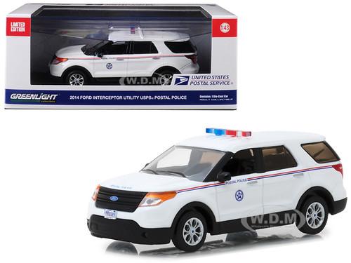 2014 Ford Interceptor Utility Postal Police United States Postal Service USPS White 1/43 Diecast Model Car Greenlight 86524