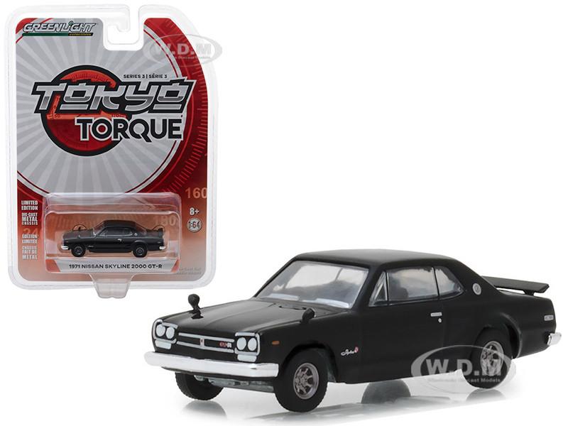 1971 Nissan Skyline 2000 GT-R Black Tokyo Torque Series 3 1/64 Diecast Model Car Greenlight 47010 A