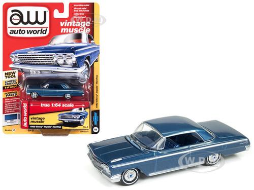 1962 Chevrolet Impala Nassau Blue Limited Edition 4400 pieces Worldwide 1/64 Diecast Model Car Autoworld AWSP008 B