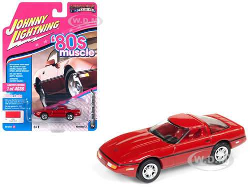 1988 Chevrolet Corvette Bright Red 80's Muscle Limited Edition 4036 pieces Worldwide 1/64 Diecast Model Car Johnny Lightning JLSP026 A