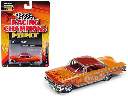 1960 Chevrolet Impala Orange Red Flames Limited Edition 3200 pieces Worldwide 1/64 Diecast Model Car Racing Champions RCSP007