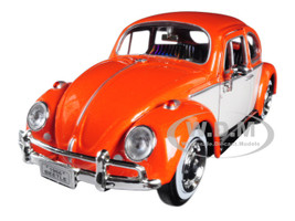 1966 Volkswagen Classic Beetle Rear Luggage Rack Orange 1/24 Diecast Model Car Motormax 79558