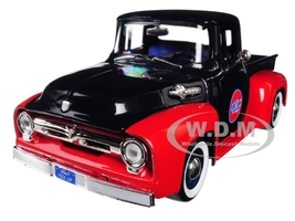 1956 Ford F-100 Pickup Truck Gulf Dark Blue Red 1/24 Diecast Model Car Motormax 79647