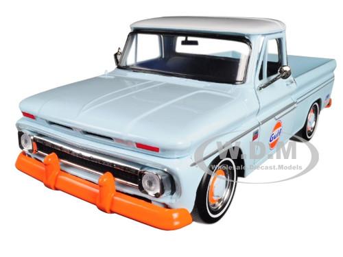 1966 Chevrolet C-10 Fleetside Pickup Truck Gulf Light Blue White Top 1/24 Diecast Model Car Motormax 79648
