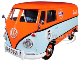 Volkswagen Type 2 T1 Delivery Van #5 Gulf Orange Light Blue 1/24 Diecast Model Car Motormax 79649