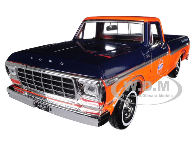 F 150 Custom >> 1979 Ford F 150 Custom Pickup Truck Gulf Dark Blue And Orange 1 24 Diecast Model Car By Motormax